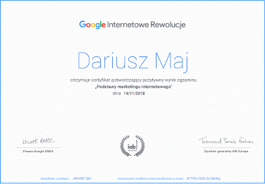 certyfikat google - marketing internetowy
